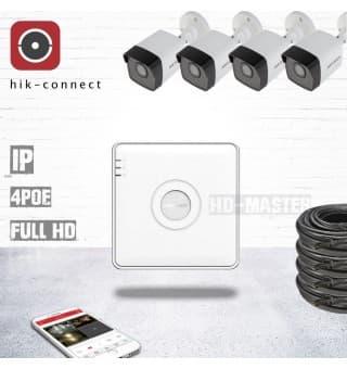 Комплект видеонаблюдения IP Hikvision-PoE-KIT34 - для улицы
